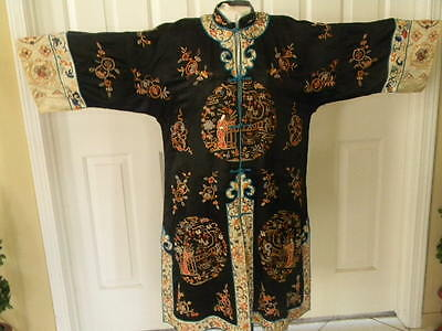 20th C Antique Hand Embroidered Peking Forbidden Stitch Black Silk Chinese Robe
