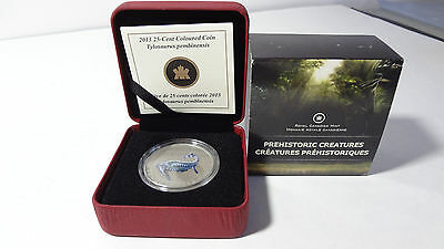 "2013 25 cents Canada  coloured coin  "" Tylosaurus Pembinensis ""  w/box & coa."