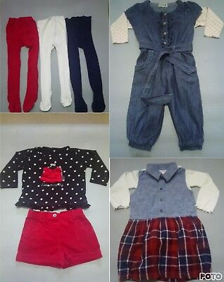 Baby Girls Outfit Bundle 12-18 Months Next Dress Jumpsuit /Top  Shorts & Tights