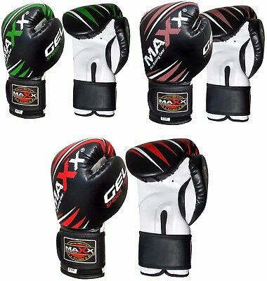 Maxx Boxing Gloves Fight PunchBag Gel Shock Junior Leather MMA Muay Thai Pad Ufc