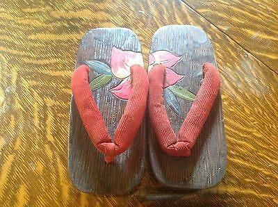 "Japanese Traditional Shoes ""Geta"" Wooden Clogs Sandals  1950's"
