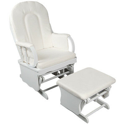 Brand New Baby Breast Feeding Sliding Glider Chair w/Ottoman White Free Delivery