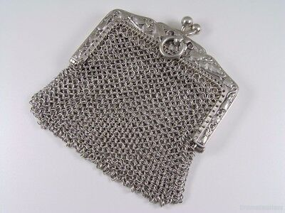 DIVINE French Solid Silver PANSIES & LEAVES MESH CHATELAINE BAG / PURSE