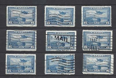 """Canada 1938  # C6 Bulk Lot of 9  """" Airmail Stamps """" used (si253(2))"""
