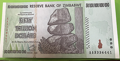 ZIMBABWE 2008 50 Trillion Dollars X 5 PCS AA3336441-AA3336493 Consecutive Notes