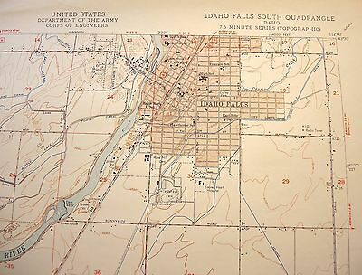 1950 Idaho Falls South Idaho Snake River USGS Topo Map