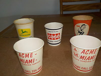 LOT OF 5 Paper Cups JOHN DEERE, CASE TRACTORS, ACME-MIAMI COMPLETE VENDING SERVI