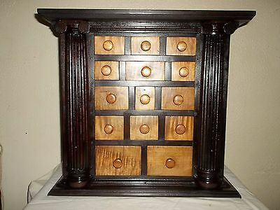 Tiger Maple /antique Cherry Apothecary Cabinet 14 H Dovetailed Drawers, Columns