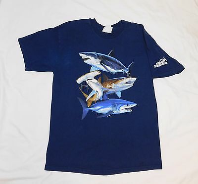 Guy Harvey Miami Seaquarium Park Sharks T Shirt Adult SMALL (S) Blue