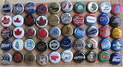 50 Different Mixed Canadian Obsolete Plastic Lined Beer Bottle Caps