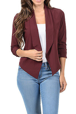Auliné Collection NC Womens Casual Lightweight 3/4 Sleeve Fitted Open Blazer
