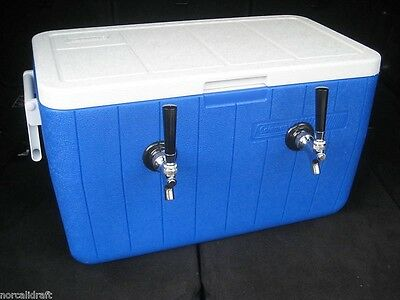 Draft Keg Two Beer Twin Stainless Coils Jockey Box - Cooler Only New