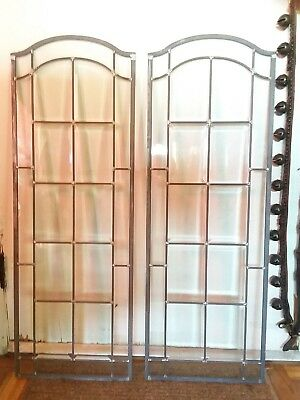Antique Victorian Beveled Leaded Glass Window A Pair Of Early Windows