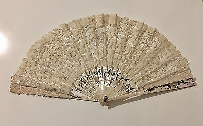 Antique 19C Beautiful Handmade Mixed Lace Fan Inlaid MOP Minor Restoration