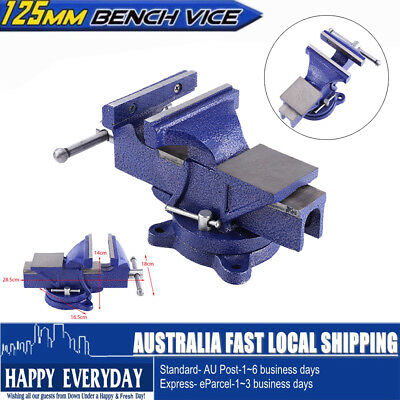"""5""""(125mm) Heavy Duty Bench Vices Cast Iron w Anvil Grip Clamp With Swivel Base"""