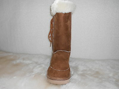 Ugg Boots Tall, Synthetic Wool, Lace Up, Size Ladies 10 Colour Chestnut