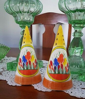 A Pair of Clarice Cliff Crocus Conical Sugar Shaker by Moorland Pottery.