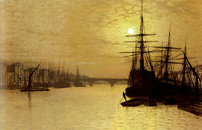 Large oil painting John Atkinson Harbor ship bridge In the evening Hand painted