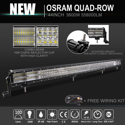 "44""INCH 10D 3600W OSRAM Quad-row LED LIGHT BAR Spot Flood Driving For Jeep Truck"