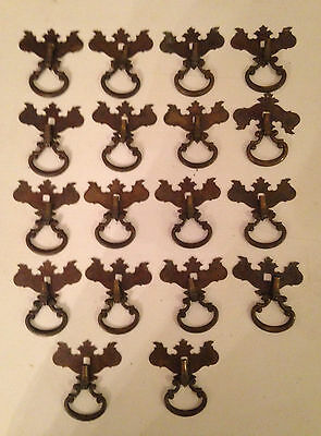 Vintage French Provincial Ring Pulls with Brass plates, set of 18