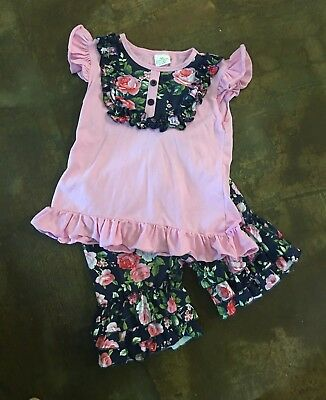 Girls Boutique 2 Piece Capri Ruffled Summer Floral Set Size XL