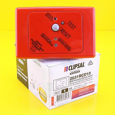 Clipsal 2031RCD10  RCD Protected Safety Switch 240Vac 20A 2P 10mA Horizontal Red