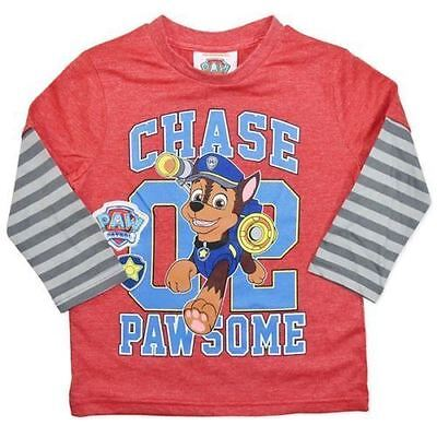 Boys Licensed Paw Patrol chase Long Sleeve Tee T-Shirt size 2
