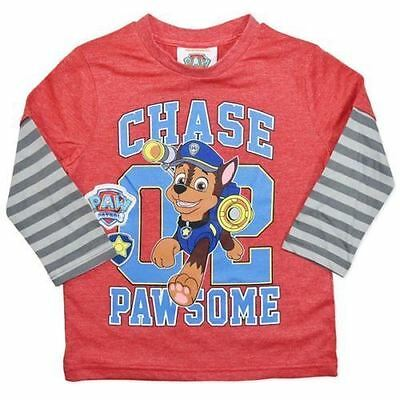 Boys Licensed Paw Patrol chase Long Sleeve Tee T-Shirt size 5