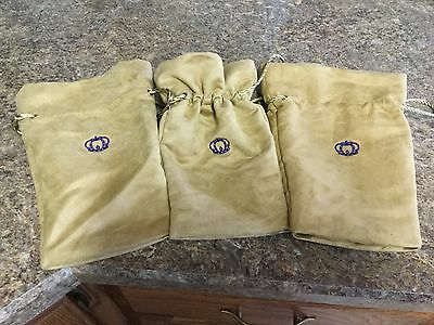 Crown Royal Special Reserve Gold/Tan Sueded Drawstring Bags (Lot of 3)