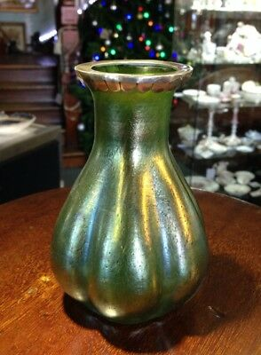 Loetz style iridescent vase with silver mount, late 19th century.