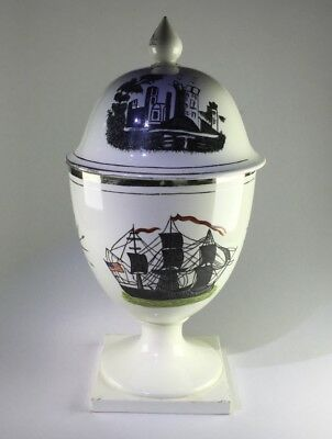 Platinum lustre covered goblet, US ship & castle scene, early 19th century