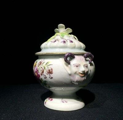 Rare Derby polychrome salt pot and cover , c. 1760