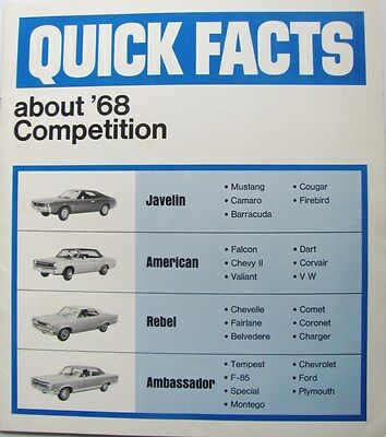 1968 American Motors Special Comparison Brochure  FOR SALESMEN