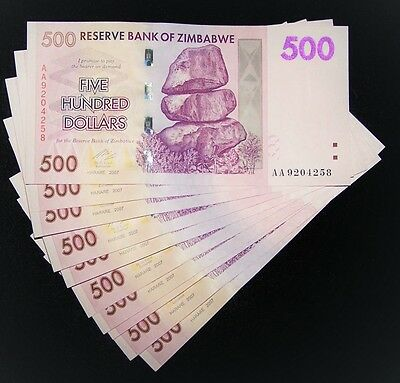 10 x Zimbabwe 500 dollar banknotes-About uncirculated & consecutive currency