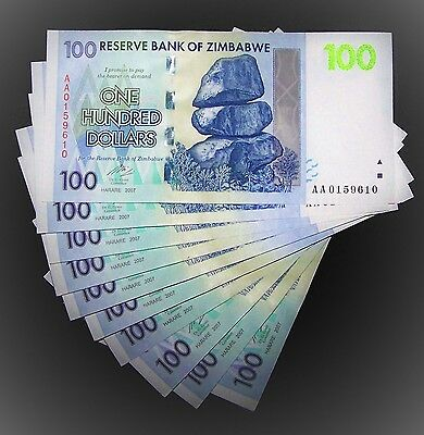 10 x Zimbabwe 100 dollar banknotes-About uncirculated & consecutive currency