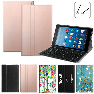 For Amazon Fire HD 8 8th 2018 SlimShell Case Cover + Wireless Bluetooth Keyboard