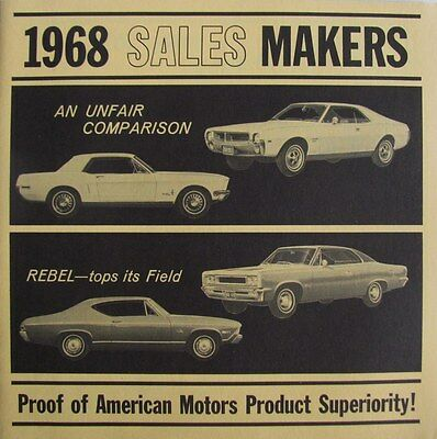 1968 American Motors Javelin & Rebel Comparisons Training Brochure FOR SALESMEN