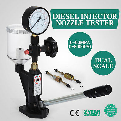 Diesel Injector Nozzle Pop Tester - Quality SS Body Dual Scale Gauge w Glycerin
