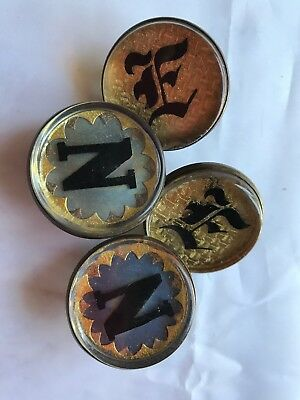 4 Antique Glass & Brass Bridle Rosettes 2 Initial N  2 Initial E