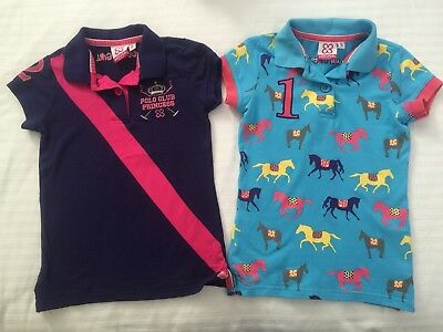 Giddyupgirl Horse Riding Girls Polo Tops x2, Size 8 (small fit, like a 6)