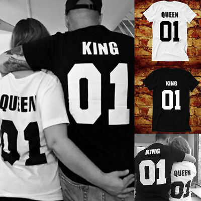 Couple Casual T-Shirt King&Queen Family Love Matching Shirts Couple Tee Tops
