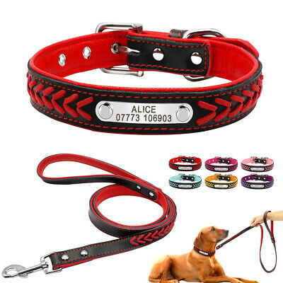 Braided Leather Personalized Pet Dog Collar and Leash Soft Padded for Dogs S M L