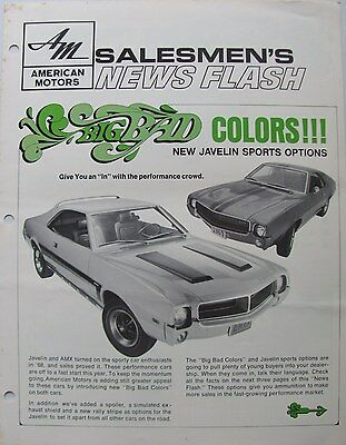 1969 AMC Salesmen's News Flash: Big Bad Colors, Javelin, AMX Options, Features