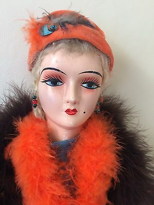 Antique French Flapper Boudoir Doll Composition Head Feet & Hands