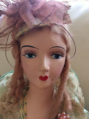 Antique French Boudoir Doll Composition Head & Hands Original Clothing