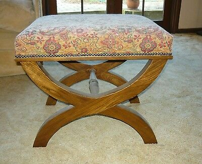 Dressing Stool with unholstered tapestry seat, arched legs, excellent condition.
