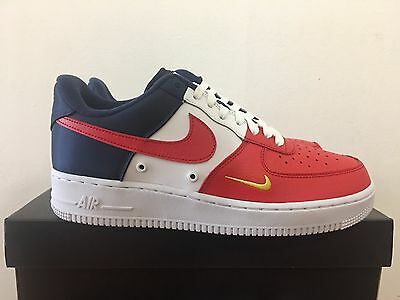 47462a5efce059 NIKE AIR FORCE 1  07 LV8 Red Navy Gold Tri Color July 4th 823511-601 ...