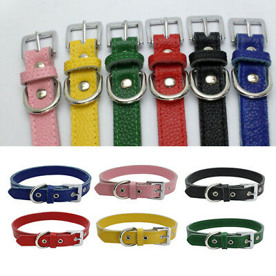 Small Pet Cat Dog  Anti Lost Simple Adjustable Leather Collar Buckle Neck Strap