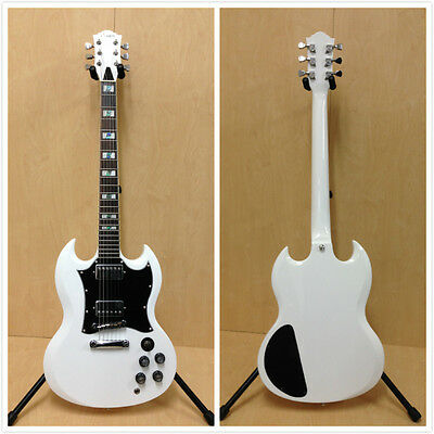 4/4 Haze 271WH SG Style Solid Body Electric Guitar, White+Free Gig Bag, 3 Picks