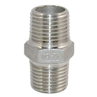 "1/2"" Male 1/2"" Male Hex Nipple Stainless Steel 304 Threaded Pipe Fitting NPT MLG"